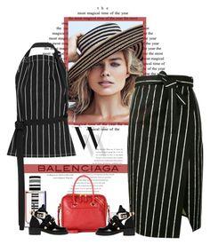 """Balenciaga striped skirt"" by bodangela ❤ liked on Polyvore featuring Balenciaga"