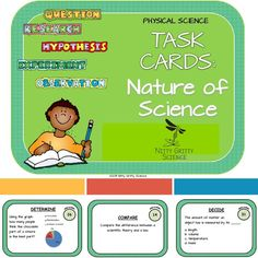 This download includes 32 Nature of Science task cards to use individually with students or in groups for review.