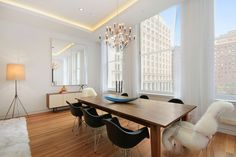 New York, United States, - 738 Broadway: this lavish four-apartment housing project offers modern living spaces adapted to the Big Apple's new upbeat generation while allowing the McKenna building to proudly remind us of its in. Home Design, Modern Design, Soho, Dining Table Chandelier, Hanging Chandelier, Modern Dining Room Lighting, Loft Style Apartments, Luxury Loft, Residential Interior Design