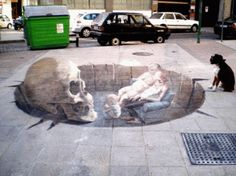 Street Art Illusions by Eduardo Relero 3d Street Art, 3d Street Painting, Amazing Street Art, Street Art Graffiti, Street Artists, Amazing Art, 3d Painting, Illusion Kunst, Illusion Art