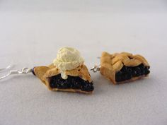 Blueberry Pie Earrings  Miniature Food Polymer Clay by TheMenu, $17.50