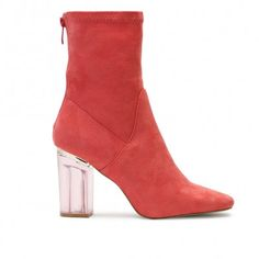 Chloe Perspex Heeled Ankle Boots in Coral Faux Suede
