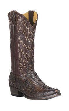 Cavender's by Old Gringo Men's Brown Gator Tail Exotic Snip Toe Boots | Cavender's