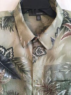 Men's 2X XXL Shirt Croft & Barrow Hawaiian Green Button Front Short Sleeve Rayon #CroftBarrow #ButtonFront
