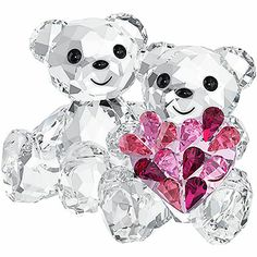 Swarovski Kris Bear Figurine, In Love: These two Kris Bears symbolize togetherness and love. They are crafted in clear crystal with Jet crystal eyes and nose. One holds a sparkling heart in a gradation of pink crystal colors. Glass Figurines, Collectible Figurines, Swarovski Crystal Figurines, Swarovski Crystals, Swarovski Ornaments, Crystals In The Home, Pink Home Decor, Crystal Collection, Glass Art