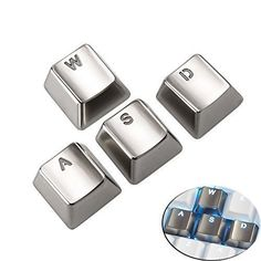 Yishun Electroplating Gold Keyset ZincTransparent Metal WASD 4 Key Caps Covers with Backlit Cherry MX Keycap for Mechanical Keyboard (WASD Silver Backlit)