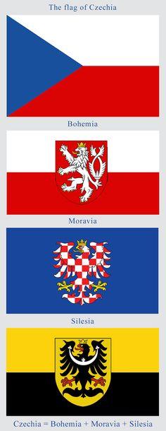 Flag of Czechia and its historical lands, Bohemia, Moravia & Silesia