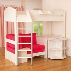 neat bunk bed, desk, couch and bookshelf all in one