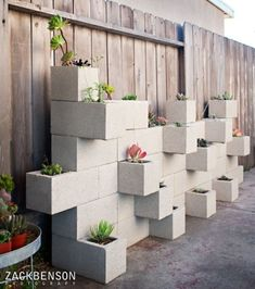 Cinder block planter wall for succulents  makes for a great weekend project.