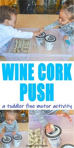 Cork Push: Fine Motor Toddler Activity - HAPPY TODDLER PLAYTIME Create this fun and easy fine motor toddler activity using recyclable items! Its a great way to keep toddlers busy! #toddleractivity #finemotoractivity #toddler Toddler Fine Motor Activities, Motor Skills Activities, Infant Activities, Fine Motor Skills, Preschool Activities, Baby Activites, Toddler Play, Toddler Learning, Toddler Preschool