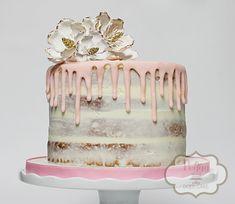 Semi-naked cake!  #nakedcake #seminakedcake #pinkdrizzlecake #rusticdrizzlecake #nakebridalshowercake #nakedshowercake #showercake #simpleshowercake #simpledrizzlecake #peggydoescake