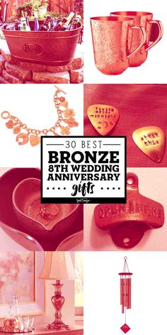 Because the wedding anniversary is bronze, coming up with unique anniversary gifts can be a hassle. But these bronze anniversary gifts are sure to make it a year to remember. Anniversary Ideas For Him, Bronze Anniversary Gifts, 8th Wedding Anniversary Gift, Marriage Anniversary, Bronze Gifts, Bronze Wedding, Wedding Gifts, Christmas Christmas, Creative Ideas