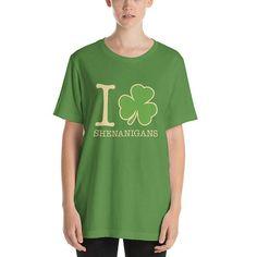 St. Patrick's Day Shirt. I Love Shenanigans Shirt. #StPatricksDayTee #shenanigans #ILoveShenanigans #StPatricksDay #ireland #IHeart #clover #irish #SaintPatricksDay #ShamrockShirt