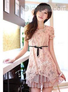 セレブ韓国スタイルスリムショートスリーブレーススカート