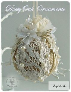 **Burlap and lace christmas tree ornament -- hmmmm, for my taste, dump the burlap and use a nice fabric, subtle or contrasting, underneath Lace Christmas Tree, Shabby Chic Christmas, Noel Christmas, Victorian Christmas, Homemade Christmas, Rustic Christmas, Diy Christmas Ornaments, Christmas Projects, Christmas Crafts