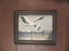 ANTIQUE 1905 BLACK AMERICANA STORK BABY FRAMED ART PRINT titled NO RACE SUICIDE