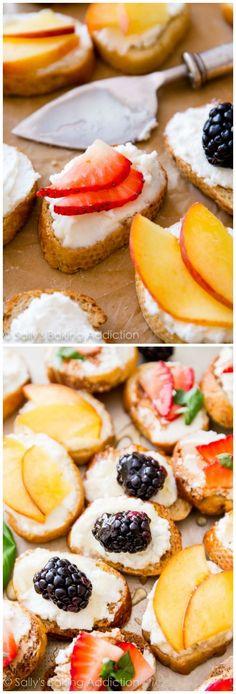 Goat Cheese, Honey, & Fruit Crostini