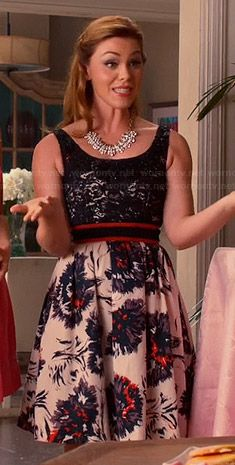 6d369fd074 AnnaBeth s lace top and floral skirted dress on Hart of Dixie. Outfit  Details  http