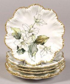 Set of Six Hand-painted Limoges Porcelain Floral Dessert Plates