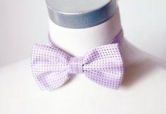 Lavender Purple Bow Tie  Dot Dots Bowtie  Pretied Bow Tie Wedding Groom by NAFEstudio