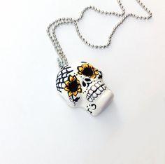 Sugar Skull Sugar Skull Necklace dia de los by PiperPixieDesigns, $30.00