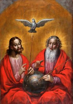 Hermann Han (1574 - 1627-28, Poland) - The Holy Spirit with a Model of Ptolemy's World (1610), oil on panel, 87 x 122 cm, Gdansk, Muzeum Narodowe