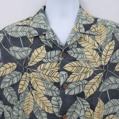 fc658032496b Tommy Bahama Yellow Green Gray Leaf Mens M Hawaiian Aloha Shirt Textured  Silk