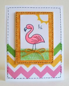 lawn fawn gnome sweet gnome flamingo card
