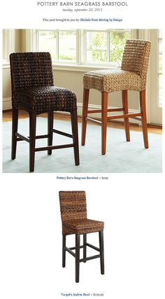 COPY CAT CHIC FIND: Pottery Barn Seagrass Barstool vs. Target's Andres Stool