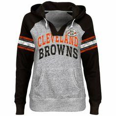 Cleveland Browns Ladies Huddle III Pullover Hoodie - Ash/Brown