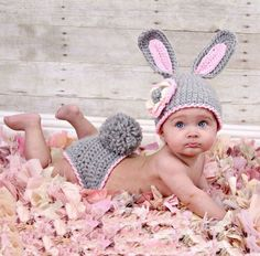 Gray Rabbit Bunny Knit Crochet Baby Costume Photo Props Toddler Birthday Outfit $12.79