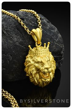 Gold Necklace For Men, Mens Gold Jewelry, Black Gold Jewelry, Lion Necklace, Pendant Necklace, African Jewelry, Chains For Men, Jewelry Accessories, Rings For Men