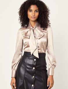 Women's Taupe Fitted Satin Blouse - Pussy Bow on sale in Hawes & Curtis White Satin Blouse, Satin Shirt, Sexy Blouse, Bow Blouse, Pencil Skirt Black, Pencil Skirts, Hawes And Curtis, Satin Dresses, Corset Dresses