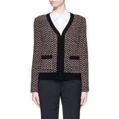 St. John 'Regatta' wool blend diamond knit zip cardigan ($1,600) ❤ liked on Polyvore featuring tops, cardigans, diamond tops, knit cardigan, knit tops, zipper cardigan and zip cardigan