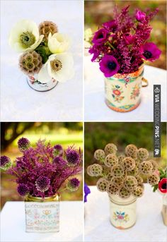 Tin Can Floral Arrangements | CHECK OUT MORE IDEAS AT WEDDINGPINS.NET | #weddings #weddingflowers #flowers