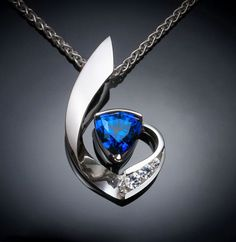 Blue Sapphire and White Sapphire Necklace - Argentium Silver -3466 - Argentium Chain Included Make a statement with this contemporary design