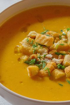 This quick and easy 45-minute pumpkin soup recipe incorporates onion, garlic, cinnamon, nutmeg, pumpkin puree, whipping cream, rosemary and a baguette to create the ultimate comfort food meets fall recipe. Whether you're eating this pumpkin recipe as a quick and easy weeknight dinner or packing it for lunch the next day, it's a great choice for a fall recipe.#fallrecipes #pumpkinrecipes #souprecipes #pumpkinsoup