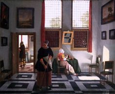 Pieter Janssens Elinga - Interior with Painter, Woman Reading and Maid Sweeping [1668]