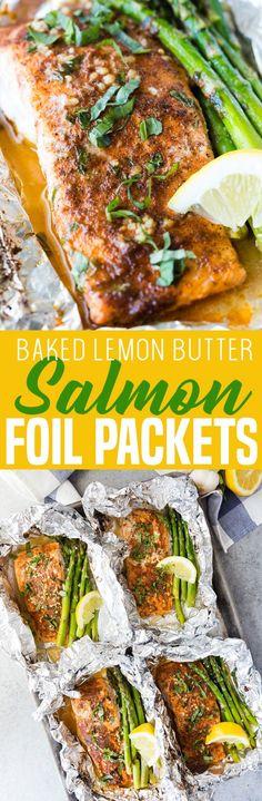 Lemon Butter Salmon and Asparagus Foil Packs - Making a baked lemon butter salmon with asparagus, foil packet Baked Salmon Recipes, Fish Recipes, Seafood Recipes, Beef Recipes, Cooking Recipes, Healthy Recipes, Lemon Recipes, What's Cooking, Foil Pack Meals