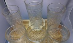 6 Piece Set Retro Pressed Glass Tumblers - Quilted Diamond Pattern - Clear Glass. #TheCreativeCottage.