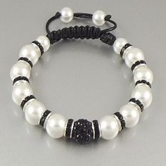 """Uber Shamballa"" Bracelet - Black and White Pearl"