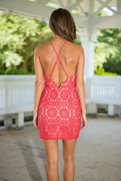 Sassy Scallops Dress, Coral - The Mint Julep Boutique