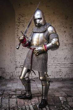 Photographic Print: Historical Reenactment: Knight with Armour, Chain Mail and Sword, Century : Medieval Knight, Medieval Armor, Medieval Fantasy, 3d Fantasy, Fantasy Armor, Larp, Armor Clothing, Early Middle Ages, Knight Armor