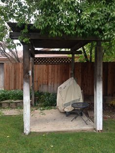 Our pergola - 6' x 8' concrete pad.  The concrete pad is level; however, the grass is not.