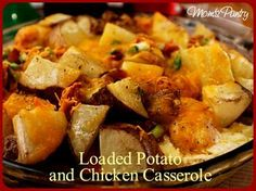Loaded Potato and Chicken Casserole   http://www.momspantrykitchen.com/loaded-potato-and-chicken-casserole.html