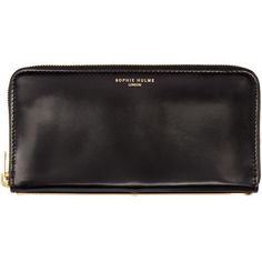 Sophie Hulme Black Leather Long Gold Spine Wallet ($395) ❤ liked on Polyvore featuring bags, wallets, zip wallet, continental wallet, leather zipper wallet, black wallet and credit card holder wallet