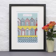 personalised beach huts print by jessica hogarth designs | notonthehighstreet.com