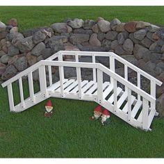 Decorative 6.5-ft White Wood Garden Bridge with Rails in Durable Aspen Hardwood