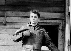 """ James Dean photographed by Dennis Stock, Fairmount, Indiana, 1955. """