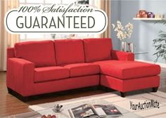 RED Microfiber Reversible Chaise Sectional Sofa Cushions Loveseat Lounge Lounger #Vogue #ContemporaryModern